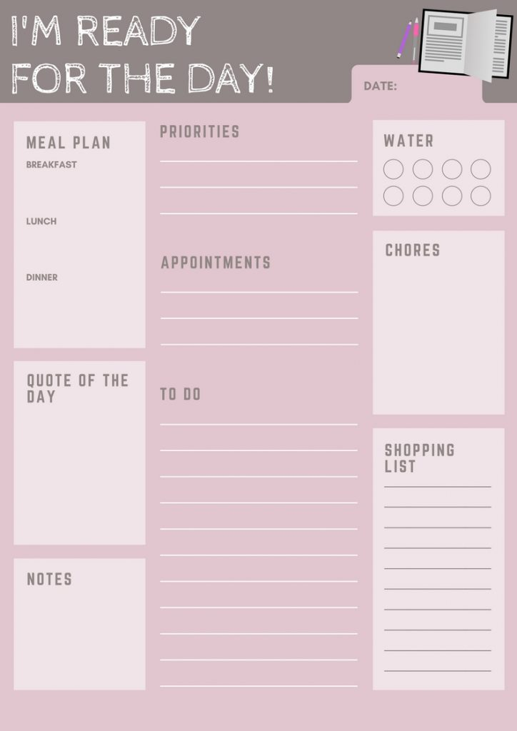 free printable daily planner checklist