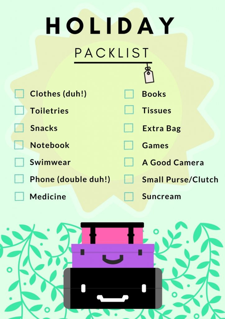 free printable holiday packing checklist