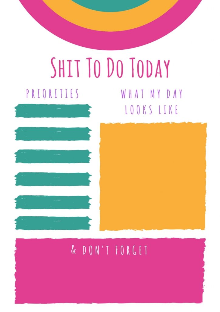 Shit To Do Today free printable planner